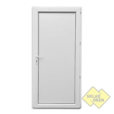 Plastové vedlejší vchodové dveře jednokřídlé 88x208 cm (880x2080 mm), plné, bílé, otevíravé, PRAVÉ