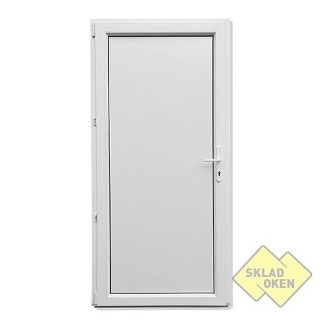 Plastové vedlejší vchodové dveře jednokřídlé 98x208 cm (980x2080 mm), plné, bílé, otevíravé, LEVÉ