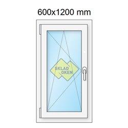 Plastové okno jednokřídlé 600x1200 mm (60x120 cm) - otvíravo-sklopné levé