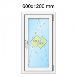 Plastové okno jednokřídlé 600 x 1200 mm - pravé