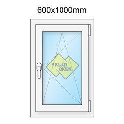 Plastové okno jednokřídlé 600x1000 mm (60x100 cm) - otvíravo-sklopné pravé