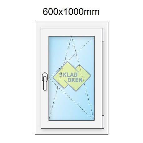 Plastové okno jednokřídlé 60x100 cm (600x1000 mm), bílé, otevíravé i sklopné, PRAVÉ