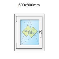Plastové okno jednokřídlé 600x800 mm (60x80 cm) - otvíravo-sklopné levé