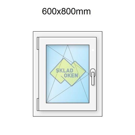 Plastové okno jednokřídlé 600x1000 mm (60x100 cm) - otvíravo-sklopné levé