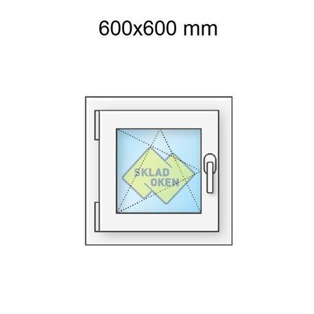 Plastové okno jednokřídlé 60x60 cm (600x600 mm), bílé, otevíravé i sklopné, LEVÉ
