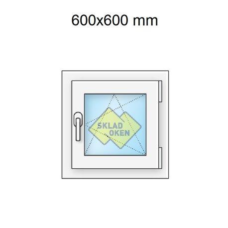 Plastové okno jednokřídlé 60x60 cm (600x600 mm), bílé, otevíravé i sklopné, PRAVÉ