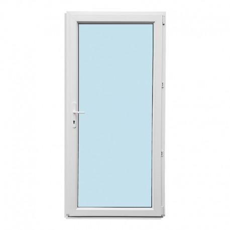 Plastové vedlejší vchodové dveře jednokřídlé 88x208 cm (880x2080 mm), prosklené, bílé, PRAVÉ - pohled z interiéru