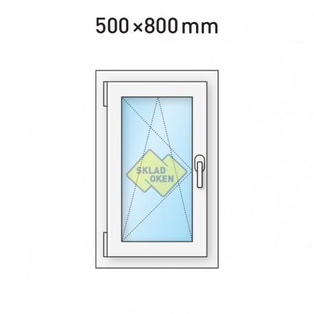 Plastové okno jednokřídlé 500 x 800 mm - levé