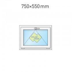 Plastové okno sklopné 75x55 cm (750x550 mm), bílé