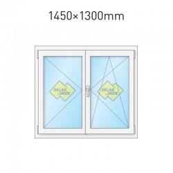 Plastové okno dvoukřídlé se štulpem 145x130 cm (1450x1300 mm), bílé, PRAVÉ