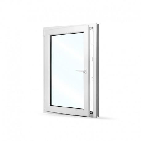 Plastové okno jednokřídlé 80x120 cm (800x1200 mm), bílé, otevíravé i sklopné, LEVÉ - otevřené
