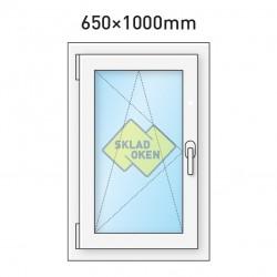 Plastové okno jednokřídlé 650 x 1000 mm - levé