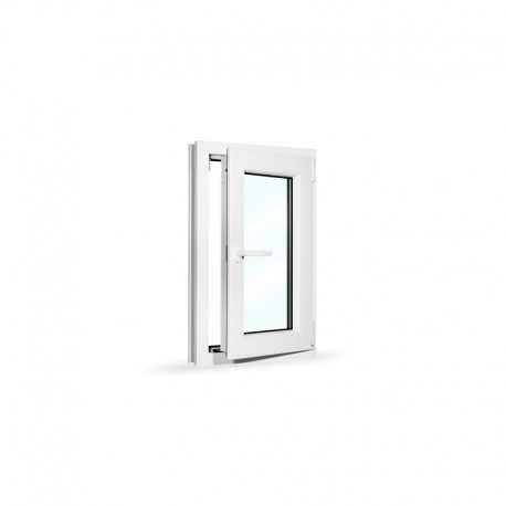Plastové okno jednokřídlé 50x80 cm (500x800 mm), bílé, otevíravé i sklopné, PRAVÉ - otevřené