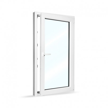 Plastové okno jednokřídlé 80x140 cm (800x1400 mm), bílé, otevíravé i sklopné, PRAVÉ - otevřené