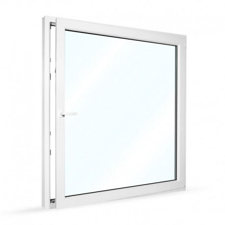 Plastové okno jednokřídlé 145x154 cm (1450x1540 mm), bílé, otevíravé i sklopné, PRAVÉ - otevřené