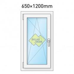 Plastové okno jednokřídlé 650x1200 mm (65x120 cm) - otvíravo-sklopné levé