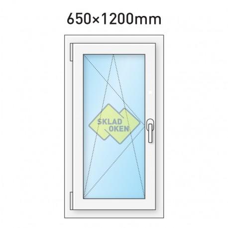 Plastové okno jednokřídlé 65x120 cm (650x1200 mm), bílé, otevíravé i sklopné, LEVÉ