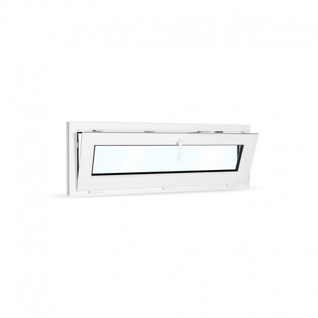 Plastové okno sklopné 120x42 cm (1200x420 mm), bílé - sklopené