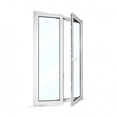 Plastové balkonové dveře dvoukřídlé se štulpem 128x208 cm (1280x2080 mm), bílé, PRAVÉ - otevřené