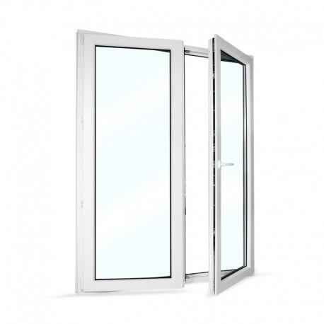 Plastové balkonové dveře dvoukřídlé se štulpem 168x208 cm (1680x2080 mm), bílé, PRAVÉ - otevřené