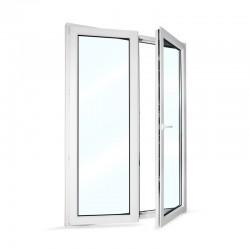 Plastové balkonové dveře dvoukřídlé se štulpem 148x208 cm (1480x2080 mm), bílé, PRAVÉ - otevřené