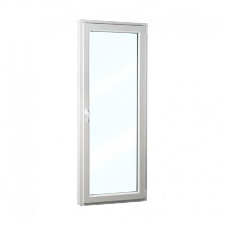 Plastové balkonové dveře jednokřídlé 68x208 cm (680x2080 mm), bílé, otevíravé i sklopné, PRAVÉ