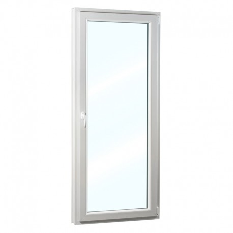 Plastové balkonové dveře jednokřídlé 86x236 cm (860x2360 mm), bílé, otevíravé i sklopné, PRAVÉ