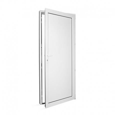 Plastové vedlejší vchodové dveře jednokřídlé 88x208 cm (880x2080 mm), plné, bílé, PRAVÉ - pohled z interiéru - otevřené