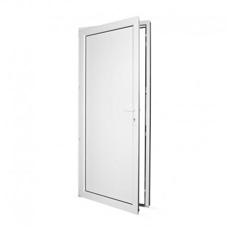 Plastové vedlejší vchodové dveře jednokřídlé 88x208 cm (880x2080 mm), plné, bílé, LEVÉ - pohled z interiéru - otevřené