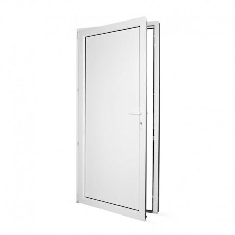 Plastové vedlejší vchodové dveře jednokřídlé 98x208 cm (980x2080 mm), plné, bílé, LEVÉ - pohled z interiéru - otevřené