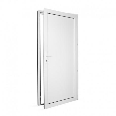 Plastové vedlejší vchodové dveře jednokřídlé 98x208 cm (980x2080 mm), plné, bílé, PRAVÉ - pohled z interiéru - otevřené