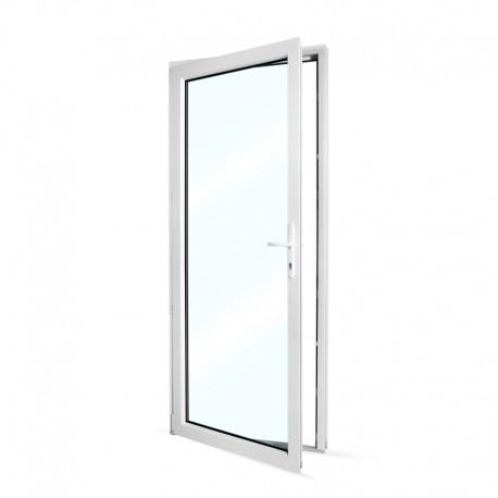 Plastové vedlejší vchodové dveře jednokřídlé 88x208 cm (880x2080 mm), prosklené, bílé, LEVÉ - pohled z interiéru - otevřené