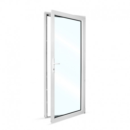 Plastové vedlejší vchodové dveře jednokřídlé 88x208 cm (880x2080 mm), prosklené, bílé, PRAVÉ - pohled z interiéru - otevřené