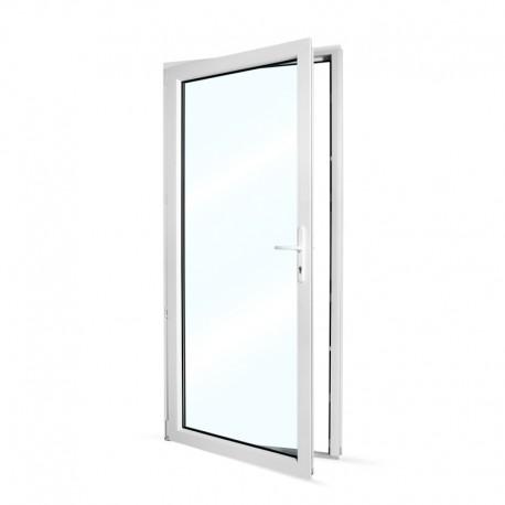 Plastové vedlejší vchodové dveře jednokřídlé 98x208 cm (980x2080 mm), prosklené, bílé, LEVÉ - pohled z interiéru - otevřené