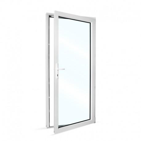 Plastové vedlejší vchodové dveře jednokřídlé 98x208 cm (980x2080 mm), prosklené, bílé, PRAVÉ - pohled z interiéru - otevřené