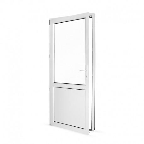 Plastové vedlejší vchodové dveře jednokřídlé 88x208 cm (880x2080 mm), dělené, bílé, LEVÉ - pohled z interiéru - otevřené