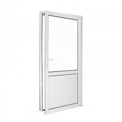 Plastové vedlejší vchodové dveře jednokřídlé 98x208 cm (980x2080 mm), dělené, bílé, PRAVÉ - pohled z interiéru - otevřené