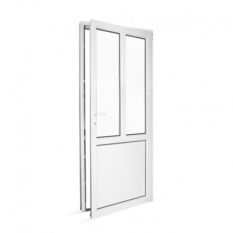 Plastové vedlejší vchodové dveře jednokřídlé 88x208 cm (880x2080 mm), dělené, bílé, PRAVÉ - pohled z interiéru - otevřené