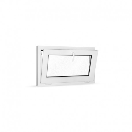 Plastové okno sklopné 90x55 cm (900x550 mm), bílé, sklo v ornamentu činčila - sklopené