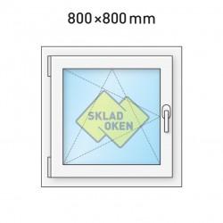 Plastové okno jednokřídlé 800x800 mm (80x80 cm) - otvíravo-sklopné levé