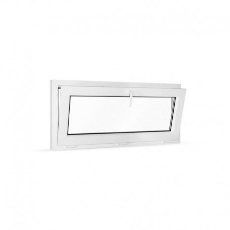Plastové okno sklopné 120x55 cm (1200x550 mm), bílé, sklo v ornamentu činčila - sklopené