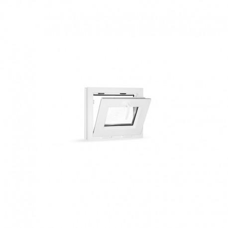 Plastové okno sklopné 49x42 cm (490x420 mm), bílé, sklo v ornamentu činčila - sklopené