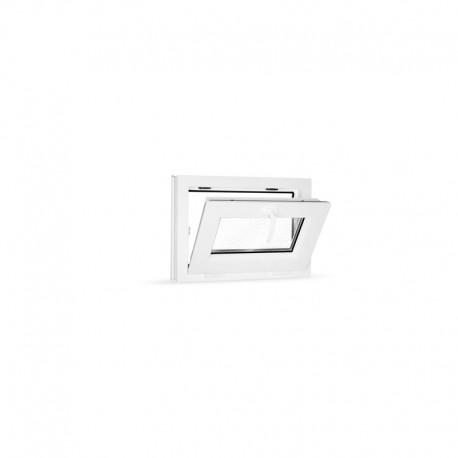 Plastové okno sklopné 60x42 cm (600x420 mm), bílé, sklo v ornamentu činčila - sklopené