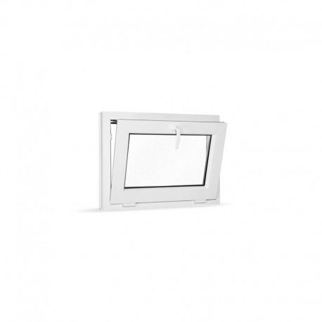 Plastové okno sklopné 75x55 cm (750x550 mm), bílé, sklo v ornamentu činčila - sklopené
