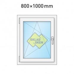 Plastové okno jednokřídlé 800x1000 mm (80x100 cm) - otvíravo-sklopné levé