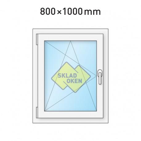 Plastové okno jednokřídlé 800 x 1000 mm - levé