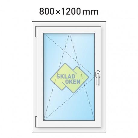 Plastové okno jednokřídlé 800 x 1200 mm - levé