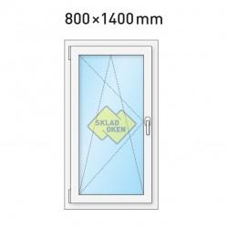 Plastové okno jednokřídlé 800x1400 mm (80x140 cm) - otvíravo-sklopné levé