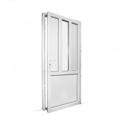 Plastové vedlejší vchodové dveře jednokřídlé 98x208 cm (980x2080 mm), dělené D4, bílé, PRAVÉ - pohled z interiéru - otevřené