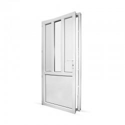 Plastové vedlejší vchodové dveře jednokřídlé 98x208 cm (980x2080 mm), dělené D4, bílé, LEVÉ - pohled z interiéru - otevřené